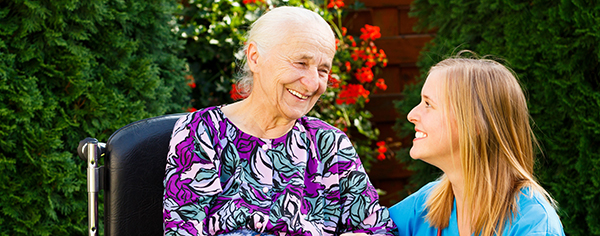 elderly person with carer